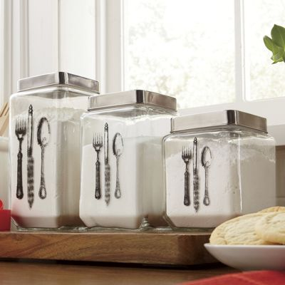 set of 3 flatware canisters
