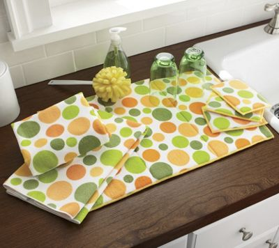polka dot mat sponge towel set