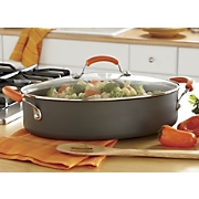 Rachael Ray Hard-Anodized Oval Sauté Pan, 5-Qt. Orange