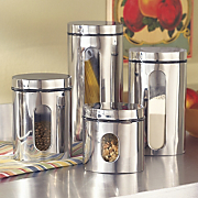 Set of 4 Stainless Steel Canisters