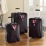 black dotty 3 pc luggage set