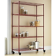 Wide 5-Shelf Metal Rolling Rack
