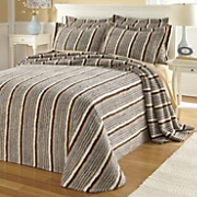 Ginnys Striped Chenille Bedspread And Sham