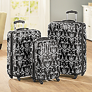 3 pc Black Floral Hardside Luggage Set