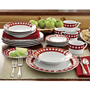 16 pc red gingham dinnerware set