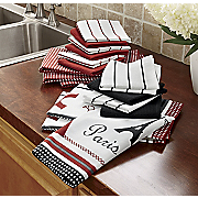 16 pc eiffel tower kitchen towel set