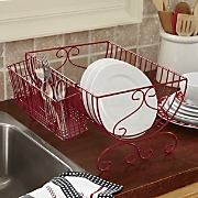 metal dish drainer with utensil caddy