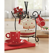 Espresso Set & Rack, Polka Dot 8-Piece