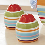happy stripe salt pepper shakers