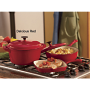 5 Piece Cast Iron Cookware Set Red