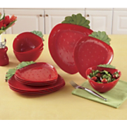 12 pc strawberry dinnerware set