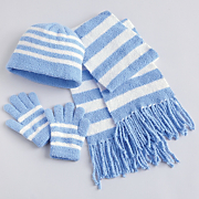 Hat Scarf and Gloves White and Blue 3 Pc Set