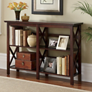 2 shelf horizontal crossbar bookcase