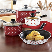 7 Piece Polka Dot Cookware