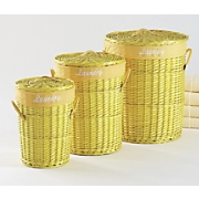 set of 3 sunshine yellow baskets