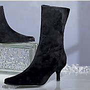 Black Suede Mid Shaft Boot By Bijou