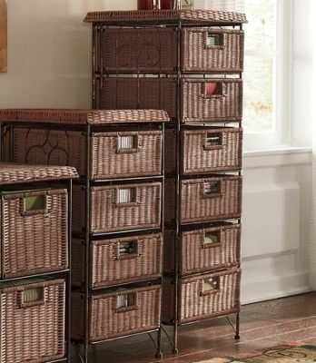 6 Drawer Highboy Wicker Taboret