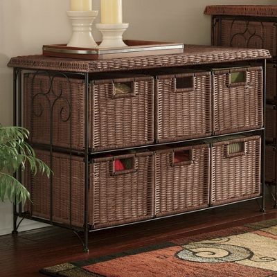 6 Drawer Lowboy Wicker Taboret