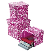set of 3 floral storage boxes
