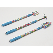 set of 3 floral extended handle garden tools