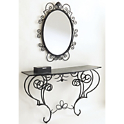 Mirror And Console Black Scroll
