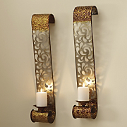 2 Piece Glastonbury Laser Cut Wall Candle Sconce Set