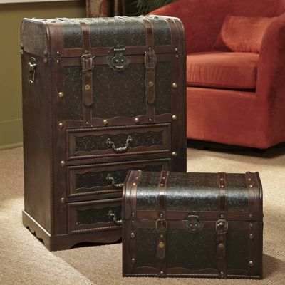 Set Of 2 Faux Leather Storage Trunks