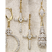 Earrings, Diamond Cross Lever Back