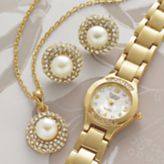 Faux Pearl and Crystal Watch Pendant and Earring Set