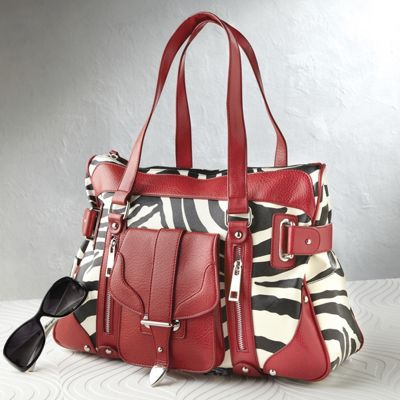Red Trimmed Zebra Print Handbag