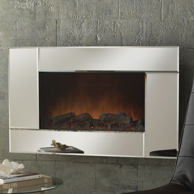 Mirrored Wall Fireplace With Remote