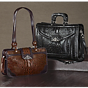 Toulon Embossed Leather Briefcase And Handbag