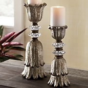 2 piece crystal gold candlestick set