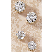 10K Gold Diamond Cluster Earrings