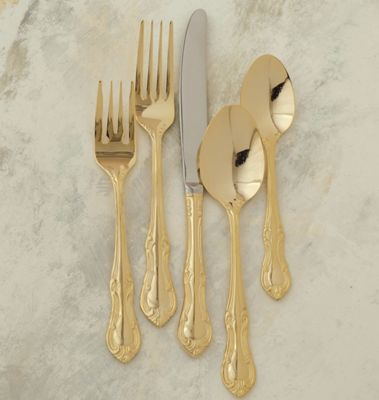 20 Piece Gold Royal Crest Flatware Set