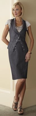 Satin Trim Vest and Skirt