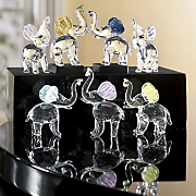 Mini Glass Elephants Set Of 7 Z