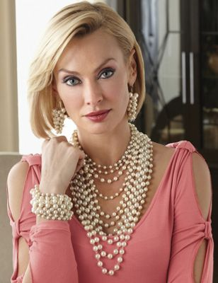 Faux Pearl Multichain Necklace And Bracelet