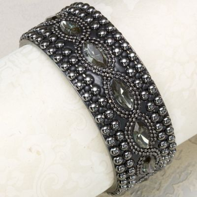 Beaded Faceted Black Bangle