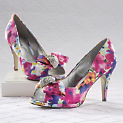 floral print satin pump by midnight velvet