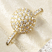 cubic zirconia micro pave ball ring