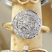 postpaid 10k gold diamond round cluster frame ring