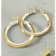 Diamond Cut Two Tone Hoops