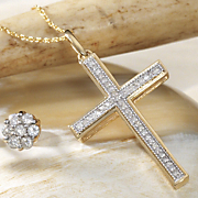10k gold diamond cross pendant