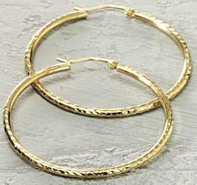 Diamond Cut Large Hoops