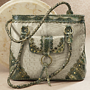 connie croc patterned leather bag