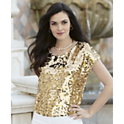 glimmer golden sequin top