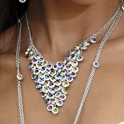 Crystal Circle Bib Necklace