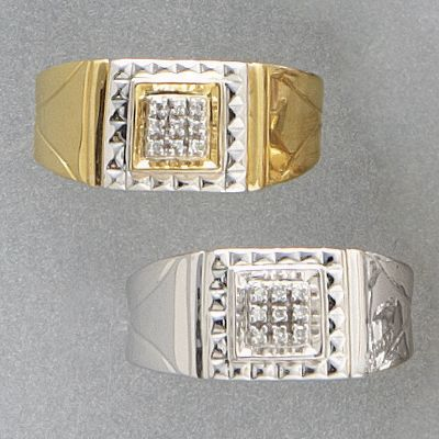 10K Gold Diamond Square Cluster MenS Ring