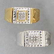 10K Gold and Diamond Square Cluster Men's Ring